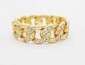 0.75tcw Pave Diamond Cuban Link Ring 14K Yellow Gold
