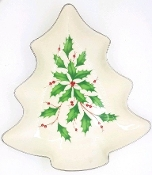 Lenox Holiday Dimension Collection Holly & Berry Tree Dish