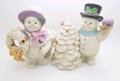 Lenox Collectible Snowy Friends Christmas Snowman Candleholders
