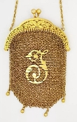 "Antique 1900 Handcrafted 18K Yellow Gold Mesh Coin Purse ""F"""