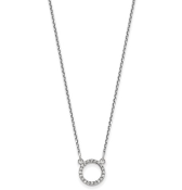 14K Diamond Open Circle Pendant Necklace
