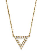 14K Gold Diamond Triangle Pendant Necklace