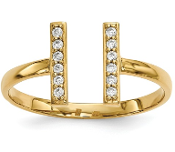 14K Yellow Gold Diamond Double Bar Ring