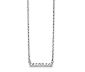 14K White Gold Diamond Bar Necklace