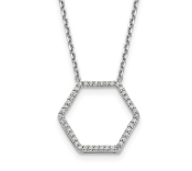 14K White Gold Diamond Hexagon Pendant Necklace