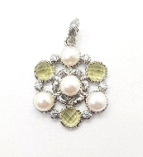Judith Ripka Sterling Silver Limon Quartz & Cultured Pearl Charm