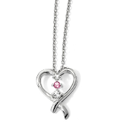 10K Gold Clear & Pink Swarovski Topaz Survivor Heart Necklace