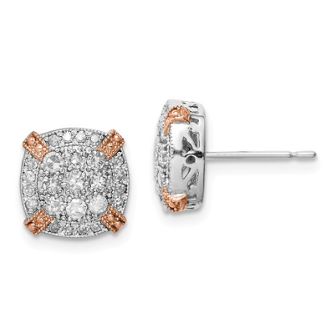 10K Two Tone Rose and White Gold Diamond Earrings