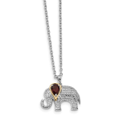 Sterling Silver & 14K Accent Diamond Garnet Elephant Necklace