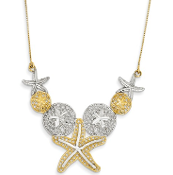 14K and Rhodium Diamond-Cut Sea Life Necklace 18""