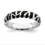 Sterling Silver Zebra Inspired Animal Print Stackable Ring