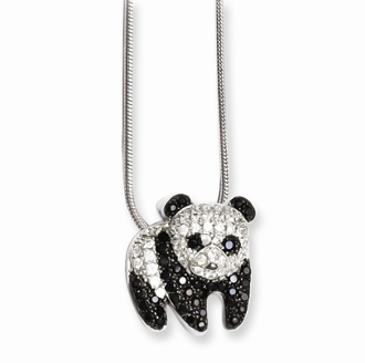 Sterling Silver and Cubic Zirconia Panda Bear Pendant Necklace