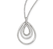 Sterling Silver Diamond Mystique Triple Teardrop Necklace