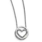 Sterling Silver Diamond Mystique Heart In Circle Necklace