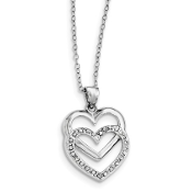 Sterling Silver Diamond Mystique Dangle Double Heart Necklace
