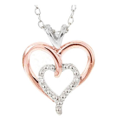 Sterling Silver and Rose Gold Plated Diamond Pendant Necklace
