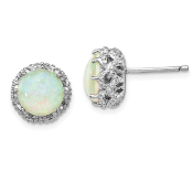 Sterling Silver White Opal Stud Earrings