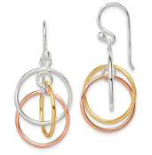 Sterling Silver 14K Yellow & Rose Gold Plated Circle Earrings