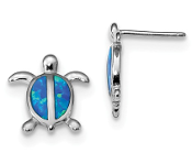 Sterling Silver Blue Opal Turtle Earrings