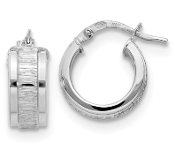Sterling Silver Polished And Textured Hoop Earrings