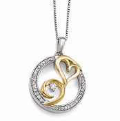 Sterling Silver & 14K Yellow Gold Arms of Love Diamond Necklace