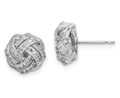 10K White Gold Polished Love Knot Diamond Post Earrings