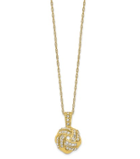 10K Yellow Gold Polished Love Knot Diamond Pendant Necklace