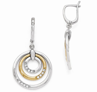 Sterling Silver & 24K Yellow Gold Plated Crystal Earrings