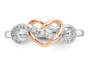 Sterling Silver & 10K Two Tone Heart Infinity Diamond Ring