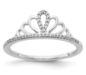 14K White Gold Diamond Tiara Crown Ring