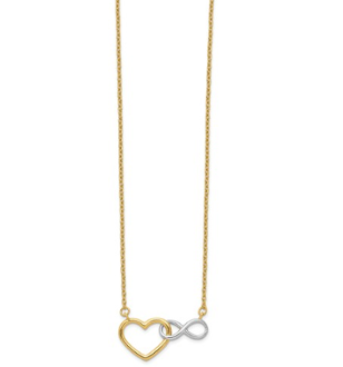 14K Yellow Gold and White Rhodium Heart & Infinity Sign Necklace