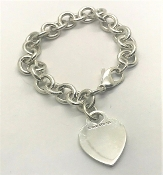 Tiffany & Co 925 Heart Tag Sterling Silver Bracelet 7.5""