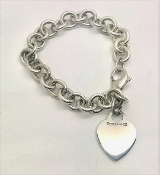Tiffany & Co 925 Heart Tag Sterling Silver Bracelet 7.75""