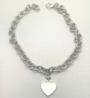 Tiffany & Co 925 Heart Tag Sterling Silver Choker Necklace 16""