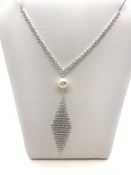 Tiffany & Co Elsa Peretti Mesh Tassel Pearl Pendant Necklace 925