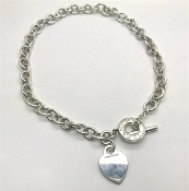 Tiffany & Co. Sterling Silver Heart Tag Toggle Necklace 16""
