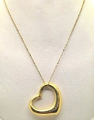 Tiffany & Co 18K  Gold Elsa Peretti Open Heart Pendant Necklace