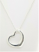 Tiffany & Co Elsa Peretti Sterling Open Heart Pendant Necklace