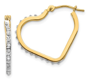 14K Gold Diamond Heart Hinged Hoop Earrings