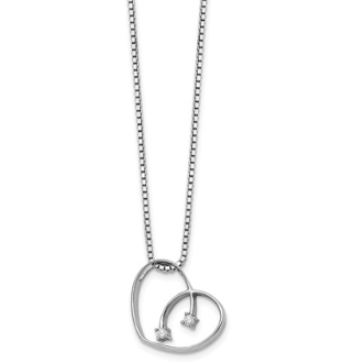 Sterling Silver 0.02ct Diamond Crossover Heart Pendant Necklace