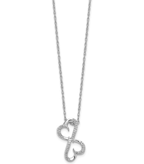14K White Gold Diamond Double Intertwined Heart Pendant Necklace