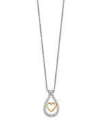 14K Two Tone Center Heart Wrapped in Diamonds Pendant Necklace