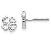 Sterling Silver Diamond Four Leaf Clover Shamrock Post Earrings