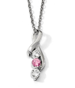Sterling Silver Survivor Ribbon Swarovski Topaz Pendant Necklace