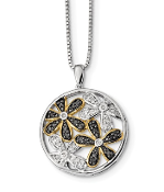 Sterling Silver Gold Plated White Black Diamond Flower Necklace