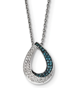 Sterling Silver White & Blue Diamond Teardrop Pendant Necklace