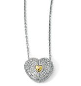 Sterling Silver Gold Plated Sapphire Magnetic Heart Necklace