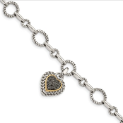 Sterling Silver & 14K Gold Black Diamond Heart Link Bracelet