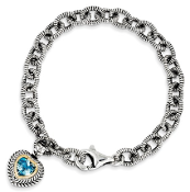 Sterling Silver & 14K Gold Swiss Blue Topaz Heart Link Bracelet
