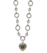 Sterling Silver & 14K Gold Black Diamond Heart Drop Necklace